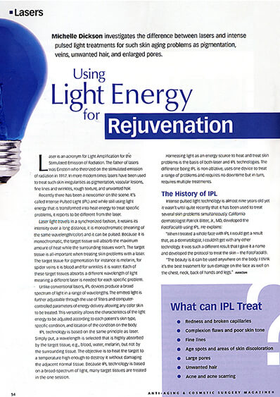 Light Energy for Rejuvenation journal banner